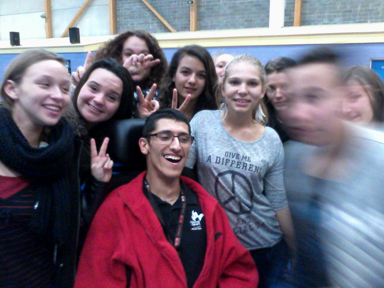 Les lycéens avec Antonio